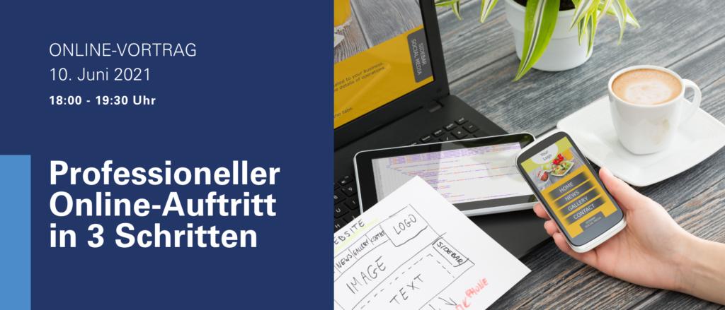 Smartphone Tablet PC Kaffee Image Text Prfessionell Online-Auftritt 3 Schritte Online-Vortrag Juni 2021